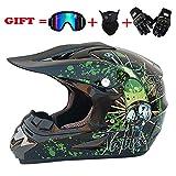 NOMEN Erwachsener Motocross Helm MX Motorradhelm ATV Scooter ATV Helm D.O.T Zertifizierter Rockstar Multicolor mit Brille Handschuhe Maske (S, M, L, XL),XL