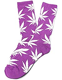 529ec0ddd0f Chaussettes Weed marijuana Motif Violet Blanc avec feuilles