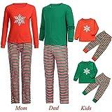 Riou Weihnachten Familie Pyjamas Set Cartoon Schneeflocke Drucken Schlafanzug Homewear für Kinder Mama Papa Baby Kleidung Kinder PJS Pullover Weihnachts Pyjama Outfits Set (105-110CM, Baby A)