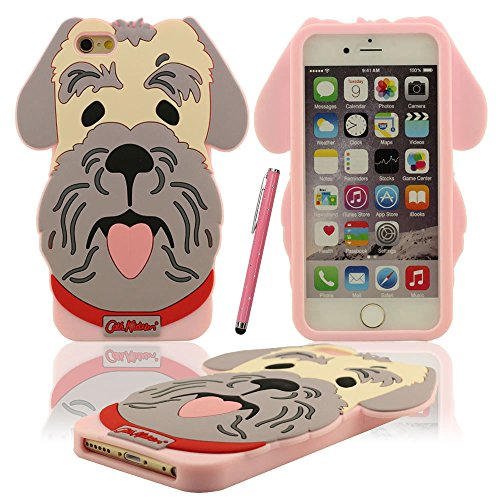 iPhone 6S 6 Coque Case Doux Silicone Plastique Gel Housse de Protection Charmant Caniche Chien Forme Etui Apple iPhone 6 6S 4.7 inch X 1 stylet rose