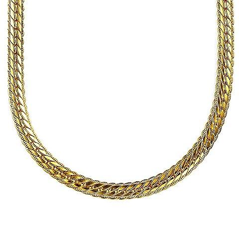 Kangqifen Schmuck Herren-Kette,18K Vergoldet Figarokette Halskette,Breite 5,0 mm - Länge 75 cm,Gold