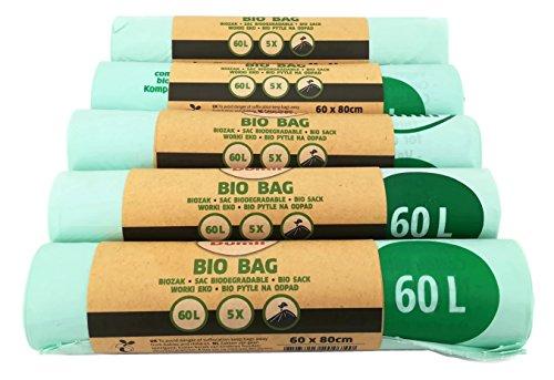 Bio Kompostbeutel 60l - 100% kompostierbar & biologisch abbaubar I 25 Stück Dumil Bio-Müllbeutel 60 x 80 cm (Kompostierbare Beutel)