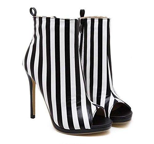 Onfly Coole Stiefel 12cm Scarpin Peep Toe Schwarz-Weiß Stripes Stiefeletten Frauen Sexy Zipper Abnehmbare Cross Strap Court Schuhe Kleid Schuhe Eu Größe 34-43 (Color : Black, Size : 38) -