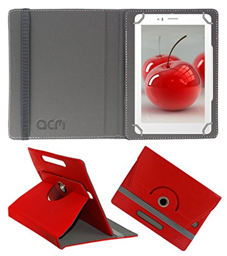 Acm Rotating 360° Leather Flip Case For Micromax Canvas Tabby P469 Tablet Cover Stand Red  available at amazon for Rs.149