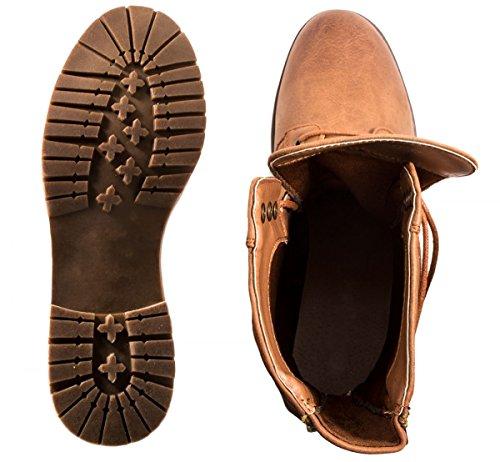 Elara Damen Stiefeletten | Bequeme Biker Boots | Lederoptik Schnürstiefeletten Braun Chicago