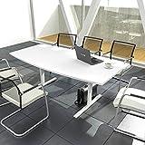 EASY Konferenztisch Bootsform 200x100 cm Weiß Besprechungstisch Tisch, Gestellfarbe:Weiß