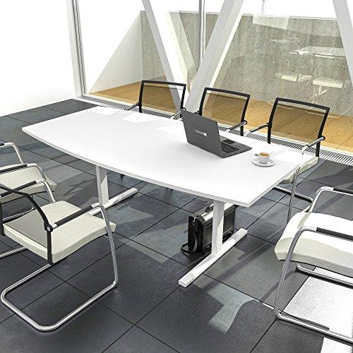 EASY Konferenztisch Bootsform 180x100 cm Weiß Besprechungstisch Tisch, Gestellfarbe:Weiß