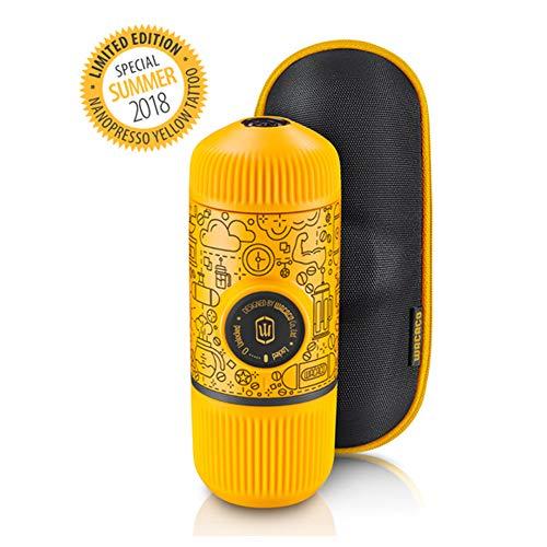 Wacaco Nanopresso Cafetera espresso portátil con funda protectora adjunta, Yellow Tattoo Patrol Edition, máquina de café para viajes pequeña, operada manualmente, perfecta para el campamento