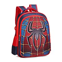 RosewineC Kids School Bag Spiderman Backpack Captain America Batman For Boys Children School Backpack with 3D Anime Super Hero Design(Spiderman-L)
