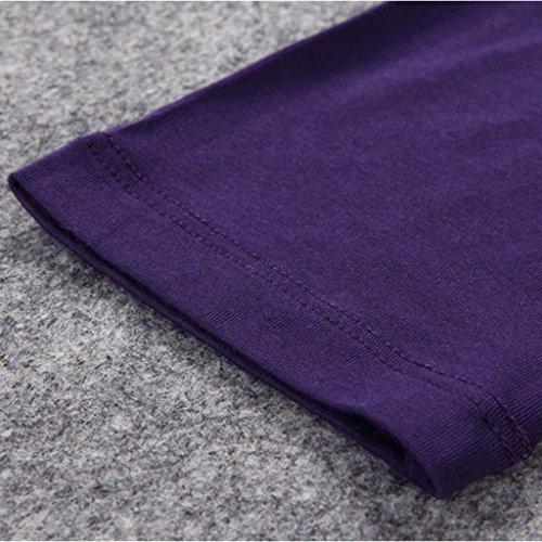 Liang Rou Damen Basic Rundhals Stretch Langarm Unterwäsche Oberteile 1 Piece Lila