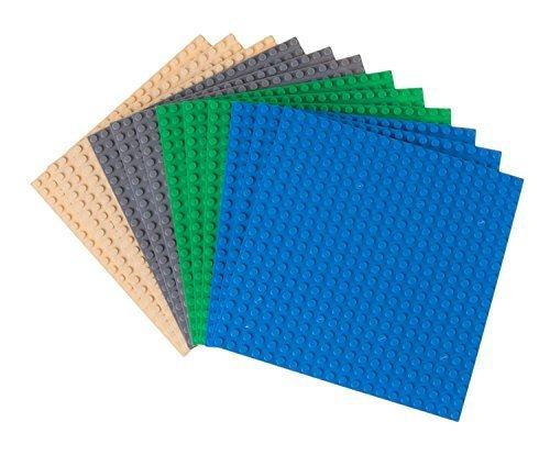 Strictly briks - set da 12 basi per costruzioni - compatibili con tutte le principali marche - 15,2 x 15,2 cm - verde, blu, grigio, color sabbia