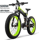 Bici Elettrica 26In Pneumatici 500W Motore 48V 10AH Rimovibile Grande capacità della Batteria al Litio A 30 Km/H E-Bikes Neve MTB Pieghevole Sistema Cambio Bicicletta 27 Speed   Gear Shimano,Verde