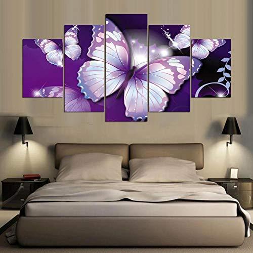 MMLXHH 5 peintures sur Toile 5 Pièce Toile Peinture Violet Papillons Image Chambre décor Imprimer Affiche Wall Art Toile Affiche Home Decor Photos