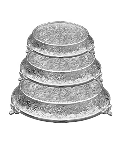 GiftBay 644-141618R Wedding Cake Stand Tapered Round Set of 3, Size 14, 16 & 18 Strongly Built For Proessional Bakers by GiftBay Creations