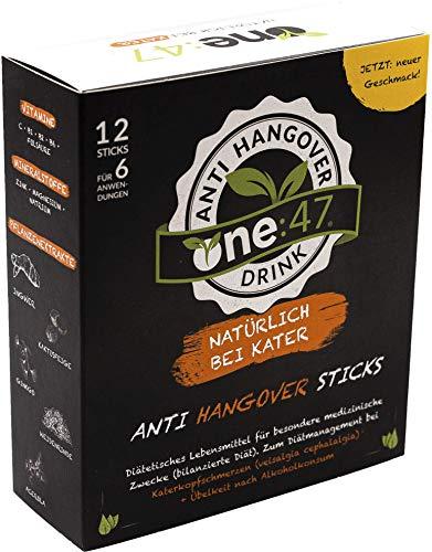 Anti-alkohol (one:47 ® Anti-Hangover-Drink | 12 Sticks | Studienbewiesene Wirksamkeit | Geschützte Formel | Zum Diätmanagement bei Kater-Kopfschmerzen & Übelkeit nach Alkoholkonsum | Natürlich bei Kater)
