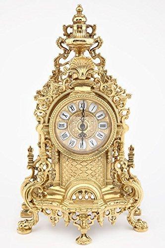Horloge Baroque de table en laiton poli étagère style français