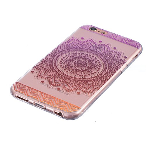 Für iPhone 6 Plus/6S Plus 5.5 Zoll [Scratch-Resistant] Weichem Handytasche Weich Flexibel Silikon Hülle,Für iPhone 6 Plus/6S Plus 5.5 Zoll TPU Hülle Back Cover Schutzhülle Silikon Crystal Kirstall Dur Mandala,Lila