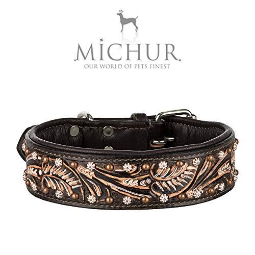 MICHUR Joris Hundehalsband Leder, Lederhalsband Hund, Halsband, Leder, Schwarz Braun mit Rundnieten und Steinchen,in verschiedenen Größen erhältlich -