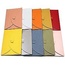 20 sobres de colores para tarjetas de papel Kraft con cierre en forma de corazón, 20pcs
