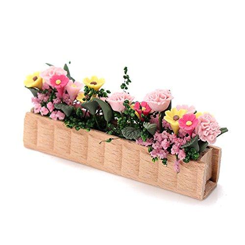 Tutoy 1:12 Puppenhaus Aertificial Miniatur Lehm Blumen Pflanze Topf Diy Handwerk Ornament Garten (Kostüm Mädchen Make Blumen Up)