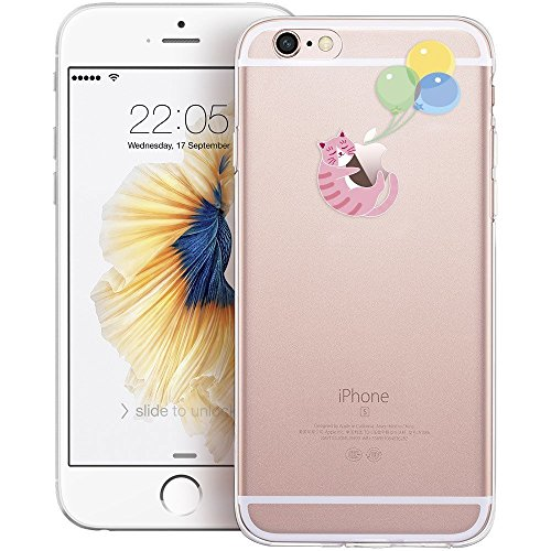 iPhone 7S Case / iPhone 8 Case, Walmark Soft Gel TPU Silicone Case Clear with Design Cute Cartoon Slim Fit Ultra Thin Protective Cover for 4.7 inches iPhone 7 /iPhone 8_Balloon Cat