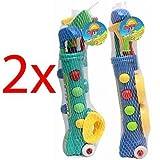 Best Toys & Child Golf Clubs - 2 X JUNIOR KIDS PLASTIC GOLF CART CADDY Review