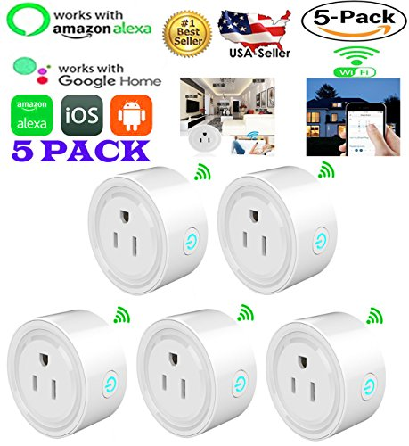 MaximalPower Smart Plug Wi-Fi Enabled Mini Outlet Compatible with Alexa Google Home, No Hub Required, WiFi Remote Control your Devices from Anywhere Timing Function Switch with Free Microfiber Cloth - Digi-switch