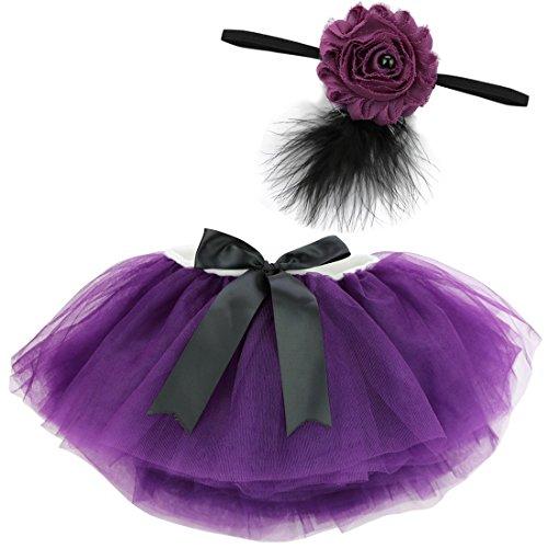 YiZYiF Fotos Fotografie Prop Baby Mädchen Kostüm Süßer Prinzessin Kleid Tüllkleid mit Kopfband Festzug Kleidung (2tlg. Lila mit ()