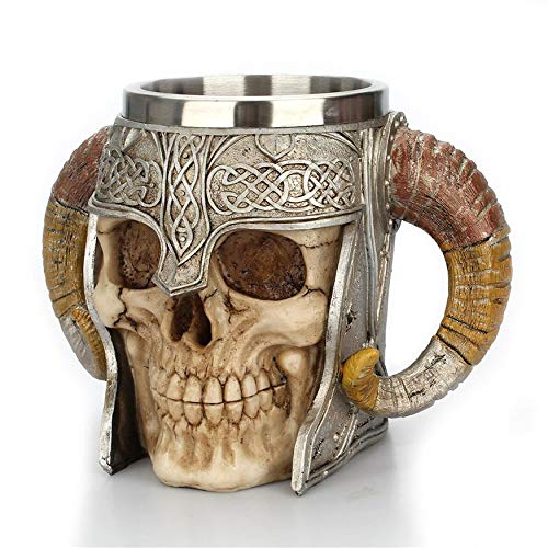 Ram Horned Stainless Steel Skull Mug Beer Goat Horn Resin Coffee Mugs Halloween Bar Gift Tea Cup Best Gift