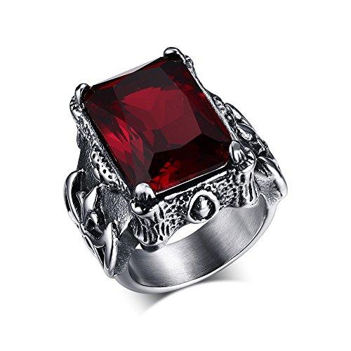 CARTER PAUL Acero inoxidable de los hombres del anillo de rubíes retr
