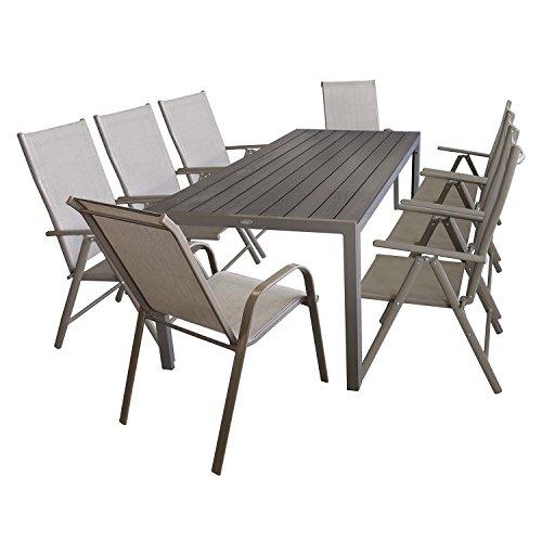 Multistore 2002 Elegante 9tlg Gartengarnitur Alu/Polywood Tisch 205x90cm + 2X Stapelstuhl + 6X Hochlehner Gartenmöbel Terrassenmöbel Sitzgruppe Sitzgarnitur