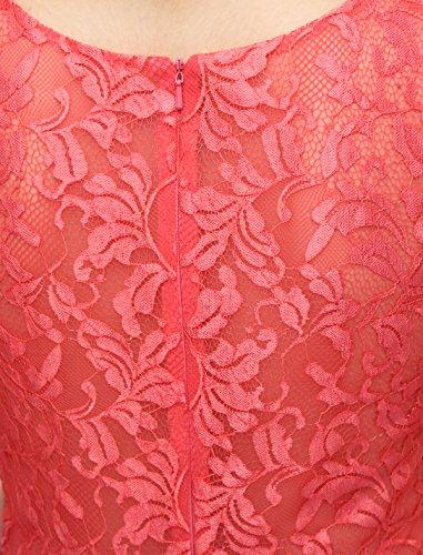 Dressystar Robe femme, Robe de bal courte Sans manches,appliques, à paillettes en dentelle tulle Rouge