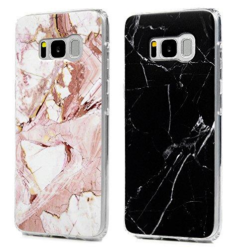 S8 +, S8 plus Scrub Marmor Handyhülle, KASOS Marble Hülle : Silikon Case Weich TPU Huelle mit IMD Technologie für Samsung Galaxy S8 +, S8 plus, Schwarz + Rose weiß