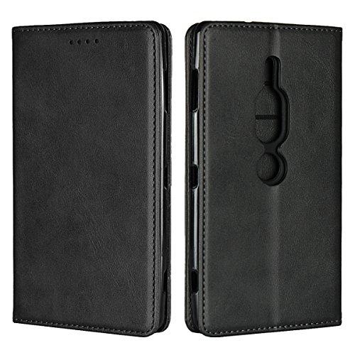 Zouzt Sony Xperia XZ2 Premium Hülle,Premium Leder Folio Flip Geldbörse mit magnetischem Verschluss/Kickstand-Funktion/Kartenschlitze/Seitentasche(Matt schwarz)