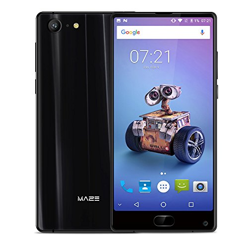 "MAZE Alpha X Smartphone, 6.0"" FHD Display Android 7.0 4G, Helio P25 2.5GHz Octa Core, 6GB RAM + 128GB ROM, 16.0MP+8.0MP Camera, Dual Sim, Fingerprint Recognition, GPS/OTG Cellulare - Nero"