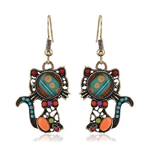 Doitsa 1 par Pendientes de Gato, Vintage Larga Tendance pendantes única Turquesa Boda Loisirs Earrings
