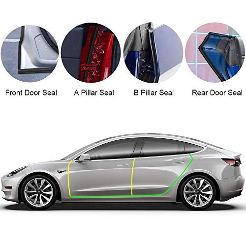 EEIEER 8 Pack Türdichtung Auto Gummi Dichtungsstreifen Kit für Tesla Model 3 Autotür (Vordertür/Säulen/Tür Hinten), Selbstklebende Auto Gummi Dichtungsstreifen, Schallschutz & Geräuschreduzierung Et Model