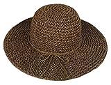 Butterme Adatti a signore paglia di estate Visiera grande bordo largo Floppy Fold Nuoto in mare Cappello di paglia (Marrone)
