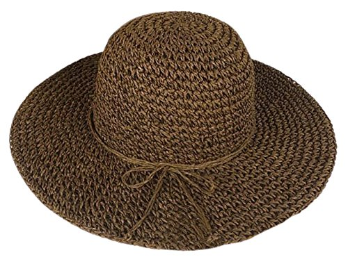 Butterme Fashion Mujer Verano Paja Parasol de ala ancha grande Floppy Fold playa sombrero de paja marrón