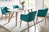 SalesFever Essgruppe weiß Eiche Aino 5-teilig, Tisch 140x90 cm, 4 x Esszimmerstühle mit Armlehnen und Stoffbezug Petrol