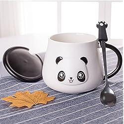 Tazas de cerámica para regalar, diseño de oso panda en 3D, regalo de cumpleaños, Navidad, taza con tapa y cucharilla de café o té para amigos especiales, tu madre, niños