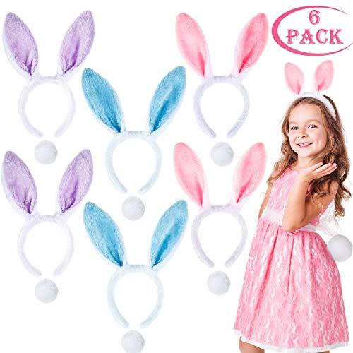 Whaline Bunny Kostüm-Set Plüsch Haarbänder Hasenohren Stirnbänder, 6 Stück Haarreif mit Schwanz für Ostern Kostüm Cosplay Party (Pink Bunny Kostüm Kinder)