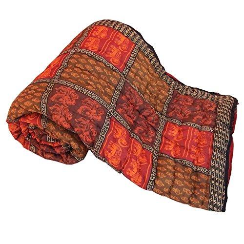 Ethnic Jaipuri Print Cotton Double Bed Razai Quilt - Multicolor