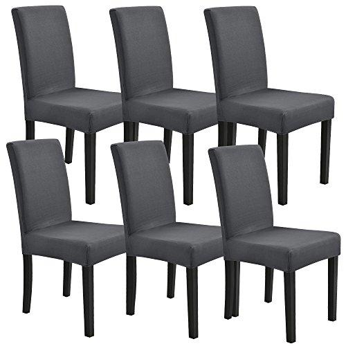 [neu.haus]® 6 x Housse de chaise Protecteur de chaise Élastique Revêtement de chaise Gris foncé Set de 6