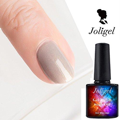 Fine Light Pink Glitter (joligel Gel Nagellack UV-LED-Nude Tägliche Farbe mokka Milch Kaffee Light Khaki, mit Superfine Gold glänzt, 10ml)