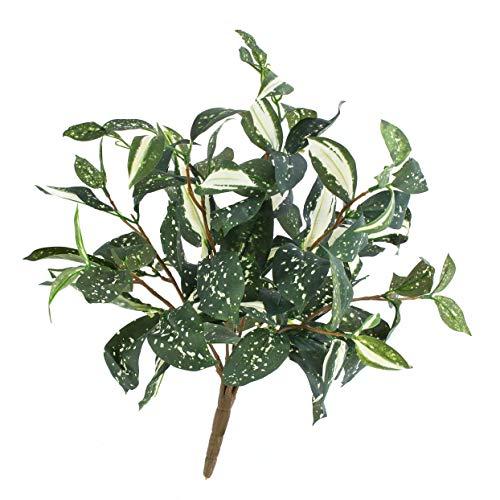 artplants Set 'Künstliche Keulenlilie + Gratis UV Schutz Spray' - Kunstpflanze Cordyline Takara, auf Steckstab, grün-weiß, 35cm