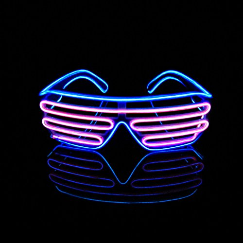 n 2 Farbe EL Wire Leuchtbrille LED Drahtbrille Brillen + Voice Control Box für Weihnachten Tanzen Party Nacht Pub Bar Klub Rave (Rosa + Blau) (Halloween-party-kostüm-box)