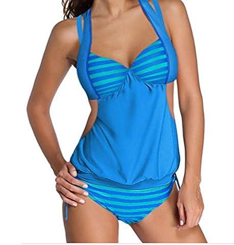 Bling-Bling 2pcs Solid Splice Striped Halter Tankini Swimsuit(Blue,XL)