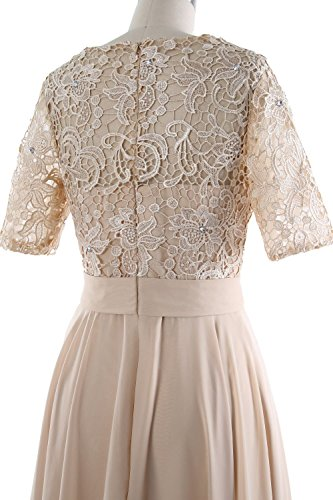 MACloth Elegant Short Mother of the Bride Dress Half Sleeves Lace Formal Gown Pewter