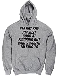 Hippowarehouse SHY I'm Just Good at Figuring Out Who's Worth Talking To Kids Children's Unisex Hoodie Hooded Top